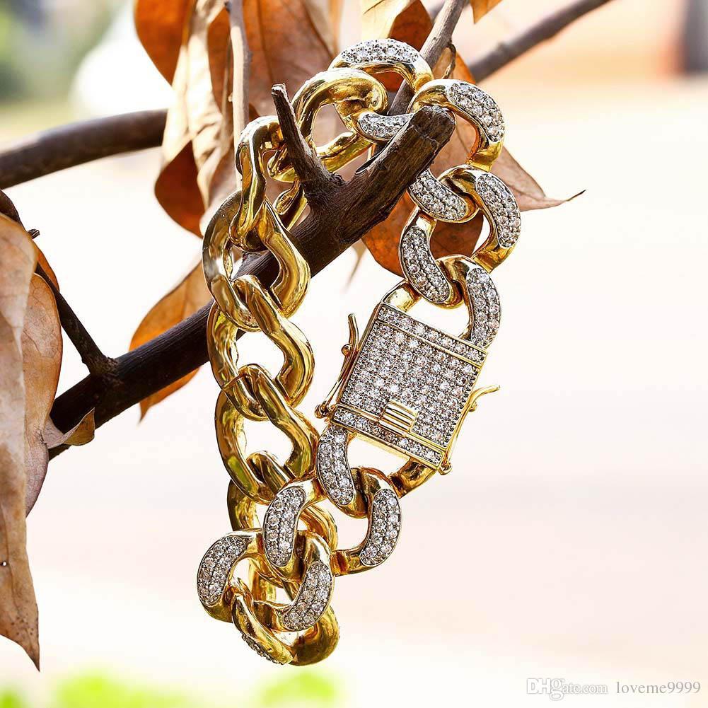 Drop доставка высокое качество 18 мм полный Bling обледенелый мужская Снаряженная кубинский ссылка браслеты чистой меди микро CZ Застежка золотая цепь браслеты