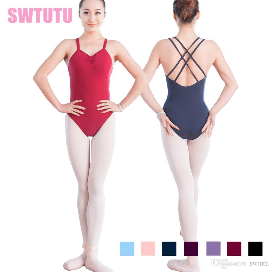 53b587a5a 2019 Navy Blue Double Strap Back Crisscross Dance Leotards Cotton ...