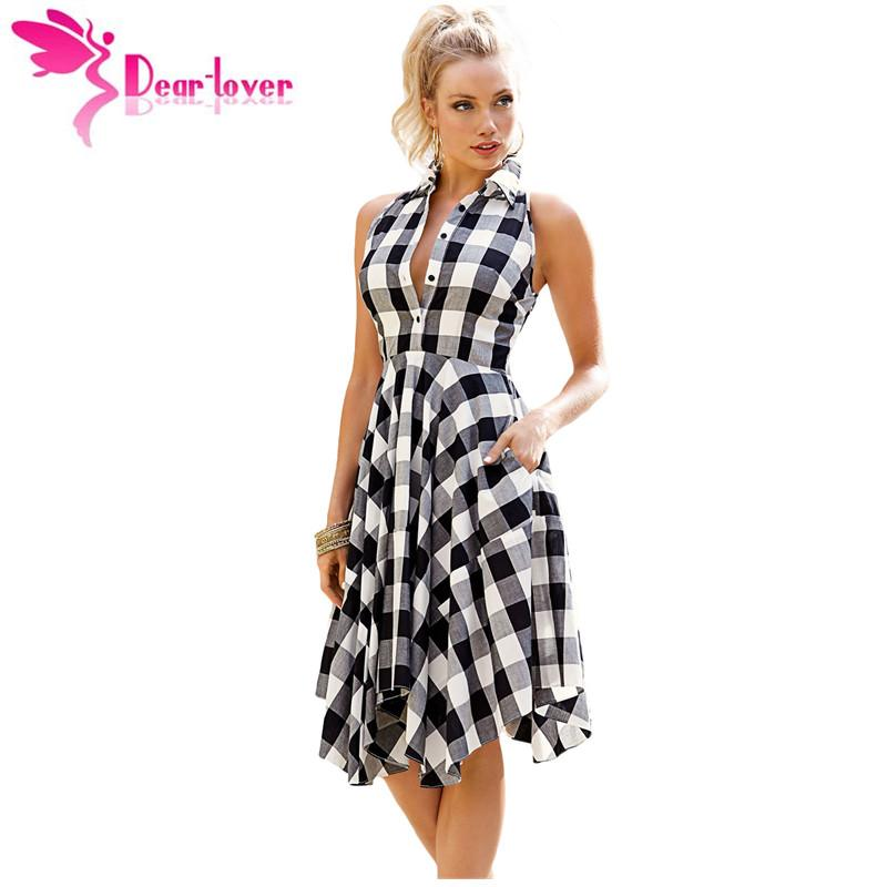 Grosshandel Dear Lover Plaid Kleider Mode Lassig Sommer Buro Damen