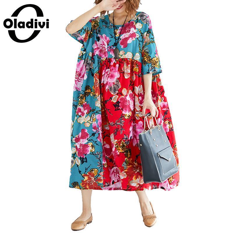 Oladivi Brand Plus Size Women Cotton Linen Dress Ladies Casual Loose Flower  Print Dresses Female Long Shirt Tunics Vestidios New