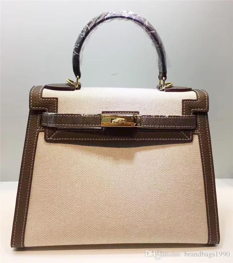 Designer Classic Designer Totes 28 cm Borse a tracolla a due toni in vera pelle con cinturino con serratura lady borse moda all'ingrosso