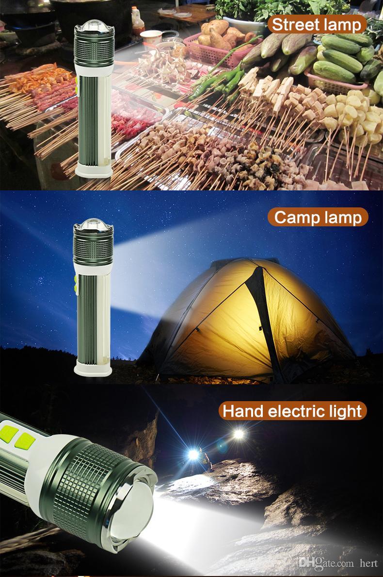 Linterna multifunción T6 + COB cuatro modos lanterna Potencia portátil recargable de litio recargable para cargador de teléfono Luz de antorchas para campamento