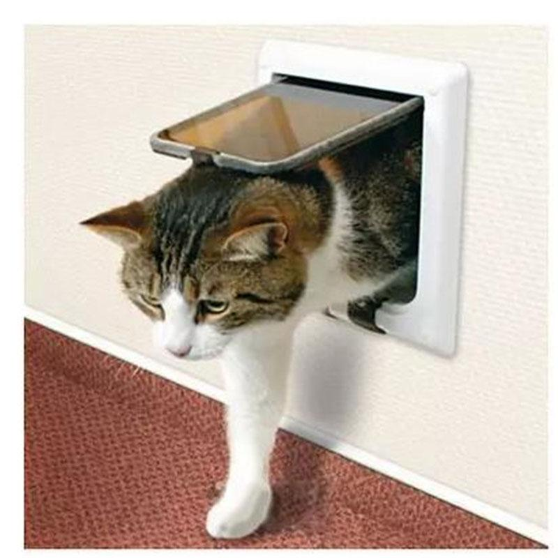 Pet Cat Small Dog Flap Glass Door Pets Kitten White Frame 4 Way
