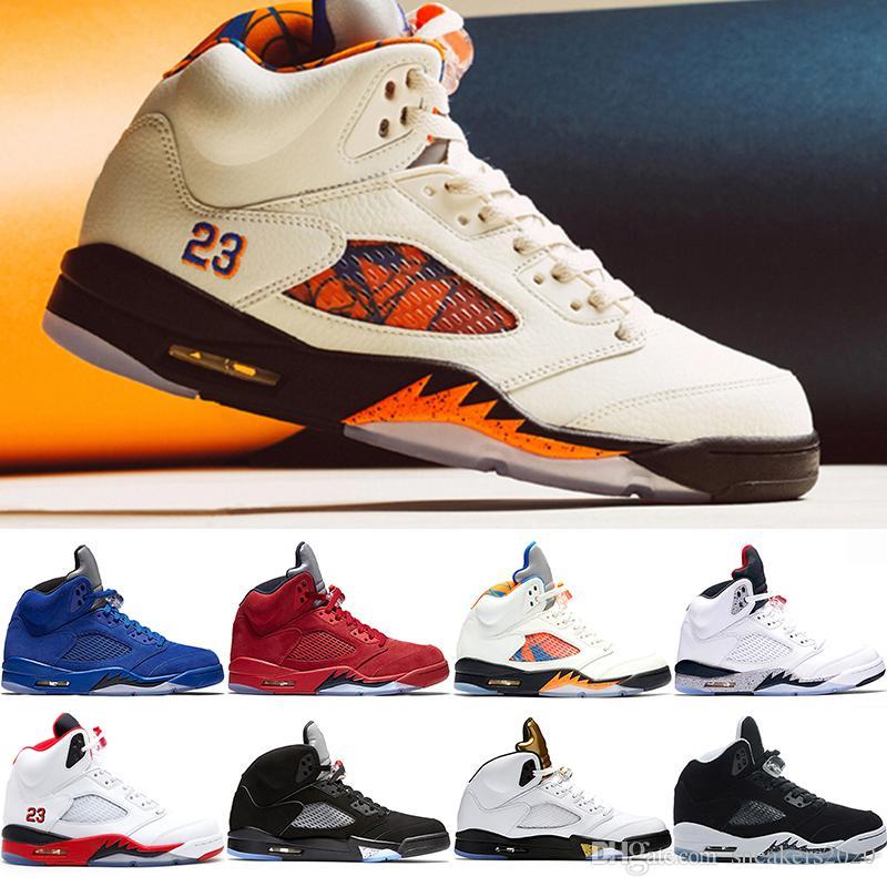 magasin en ligne 61821 c93ac Nike Air Jordan Retro 5 5s Hommes Chaussures de Basketball Vol  International Rouge Bleu Daim Blanc Ciment Métallique Noir Feu Rouge  Formateur Designer ...
