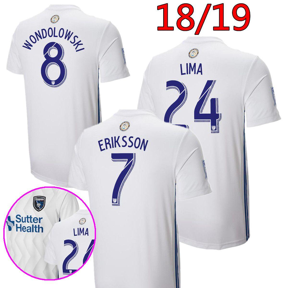 Compre 2018 2019 MLS San Jose Earthquake Camisas De Futebol 18 19 Uniforme  De Futebol Branco Em Casa   8 Wondowlowski   7 Eriksson   24 Lima 20  Camisas ... bbe2bcd8b74be