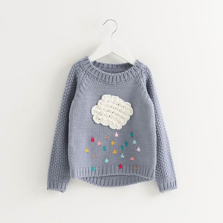 Boy Girl Warm Sweater Cloud Rain Cartoon Long Sleeve Loose Knitted