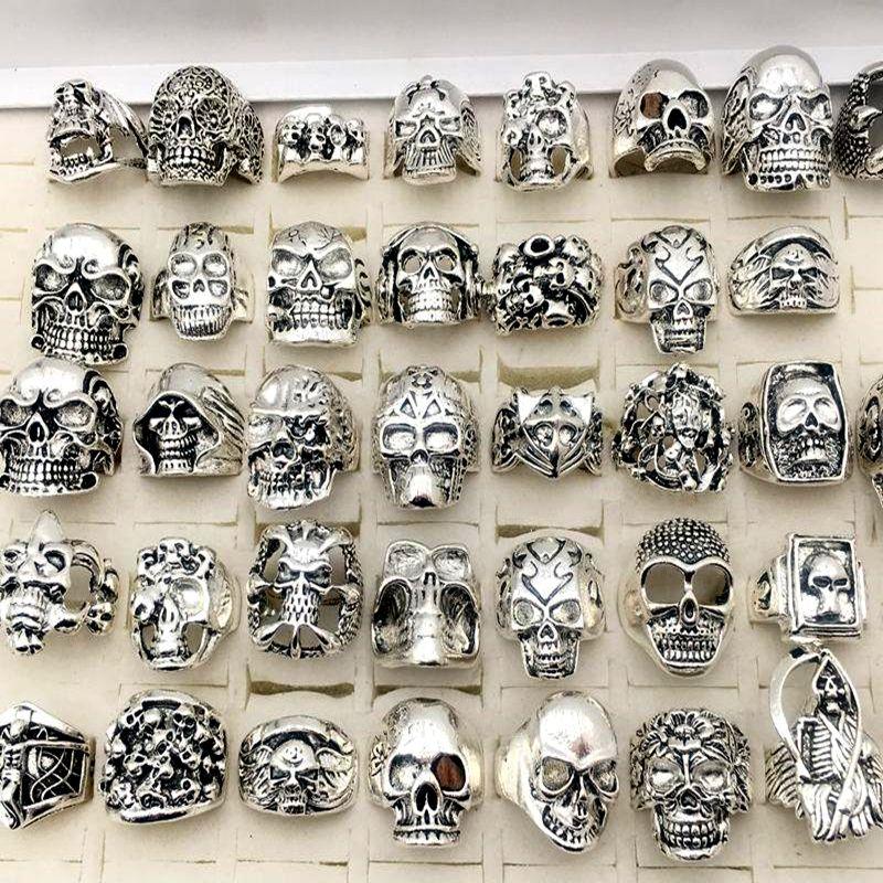 جديد الجمجمة خواتم الكثير / القوطية steampunk مجوهرات الفضة مطلي النمط الهيب هوب للرجال الحجم 17CM إلى 22CM رجل موضة هدايا