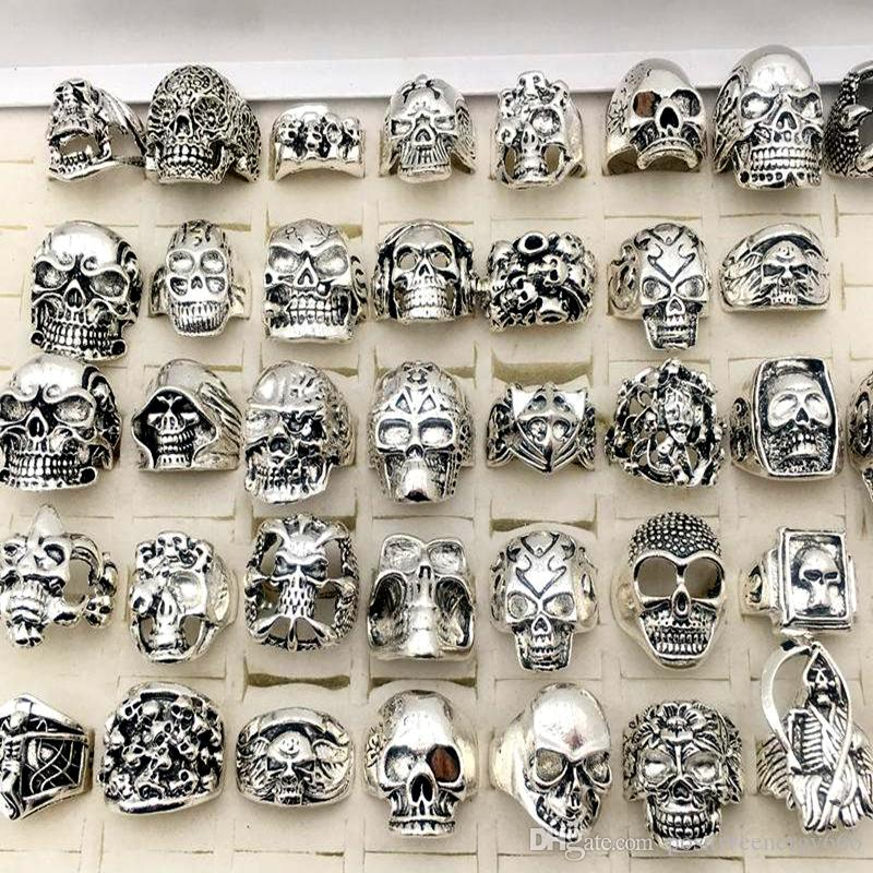 New Skull Rings Gothic steampunk Style Silver Plated hiphop Jewelry for Men Size17cm To 22cm Man Fashion Gifts