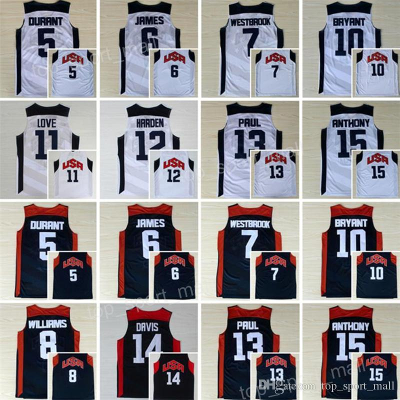 2012 US Basketball Jersey Dream Team Kevin Durant LeBron James Harden 10 Kobe Bryant Chris Paul Kevin Love Anthony Williams Westbrook Davis