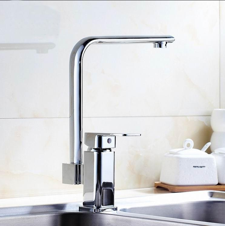 High Quality Contemporary Brass Kitchen Faucet Chrome Finish Basin ...