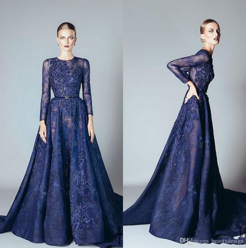 2017 Ellie Saab Evening Dresses Navy Blue Ruffles Beaded Appliques ...