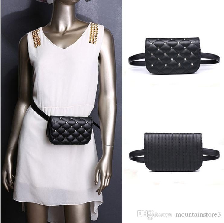 b6182971a077 Waist Bag Women Rivets PU Leather Belt Bag Waist Pack Travel Belt Wallets  Fanny Bags Ladies Fit 5.5 inches phones