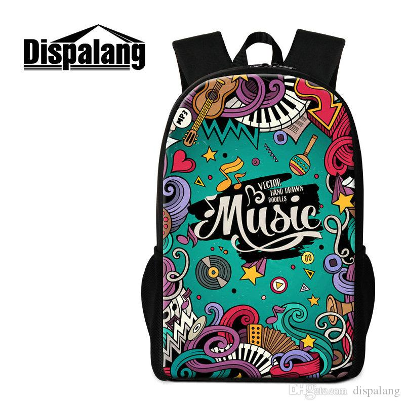 ecdc35ec5372 New Style Boys Girls School Bag Musical Note Pattern Children Daily Double  Shoulder Bags Women Men Fashion Hip Hop Rucksack Kids Schoolbags Laptop  Messenger ...