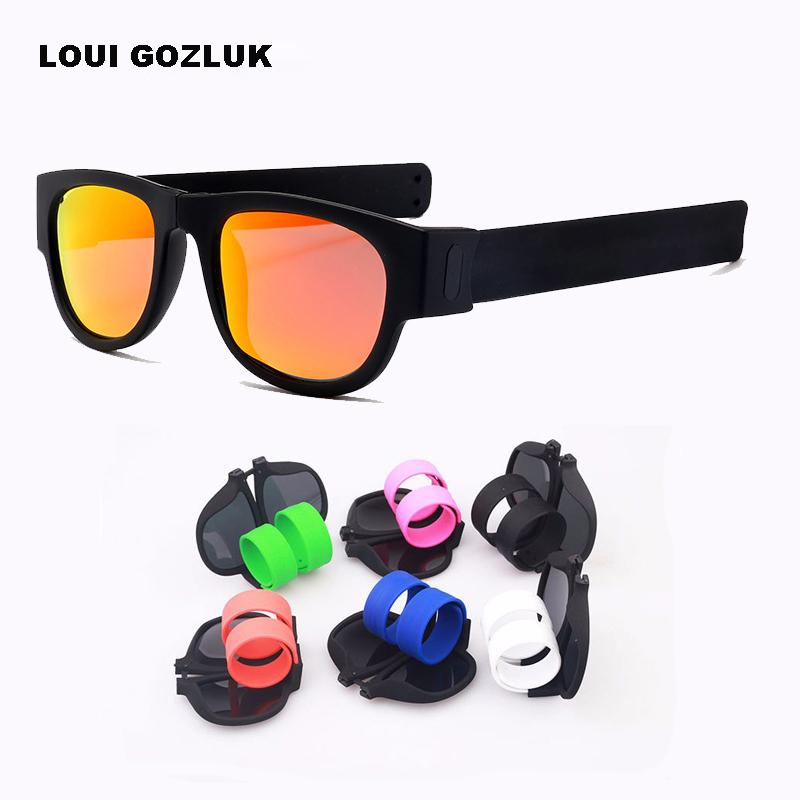 7e597b8a170 2018 New Slap Sunglasses Polarized Women Slappable Bracelet Sun Glasses For  Men Wristband Colorful Fashion Mirror Folding Shades Glass Frames Online ...