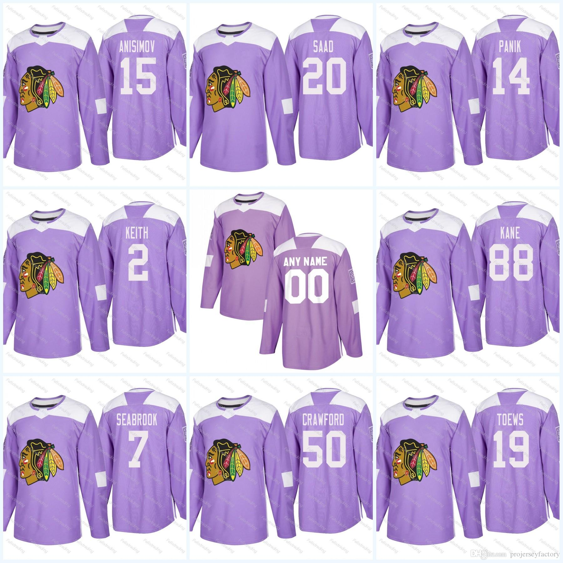 8adf6c225ef 2019 2 Duncan Keith Chicago Blackhawks Purple Fight Cancer Practice  Jonathan Toews Corey Crawford Patrick Kane Artem Anisimov Saad Jersey From  ...