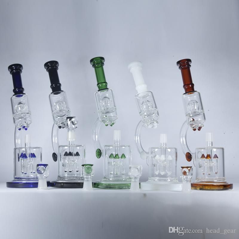 """Microscope Beaker Bongs 4 Rocket to UFO Perc Double Recycler Dab Oil Rigs 14"""" inch Tall Glass Water Pipes Thick Bubbler Hookahs Pipes"""