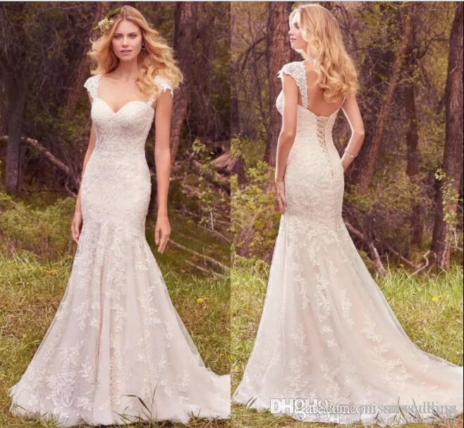 Lace Mermaid Wedding Dresses Country Backless With Straps Sweetheart ...