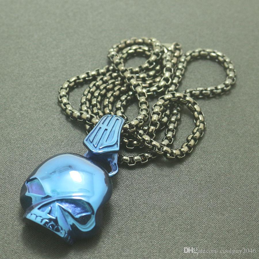 Boy 316L Stainless Steel Polishing Blue Skull Biker Skeleton Pendant
