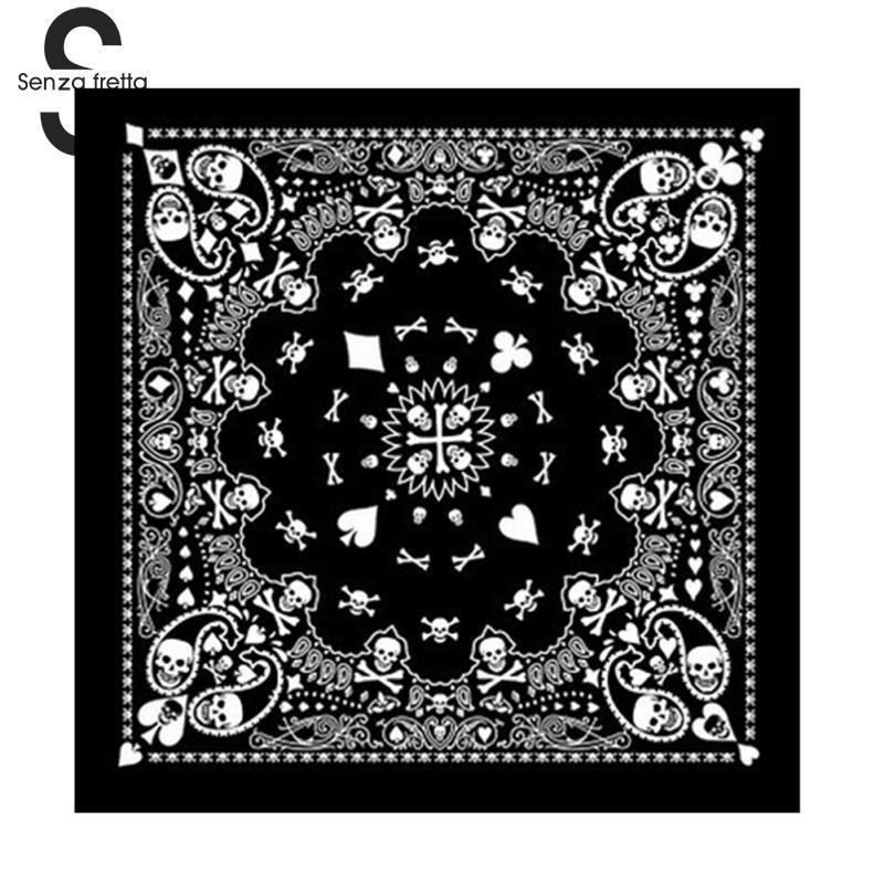 1ae118116e Senza Fretta Cotton Skull Bandana Square Scarf Black Paisley Bicycle  Headband Printed Scarf For Women/Men/Boys/Girls DWW9353
