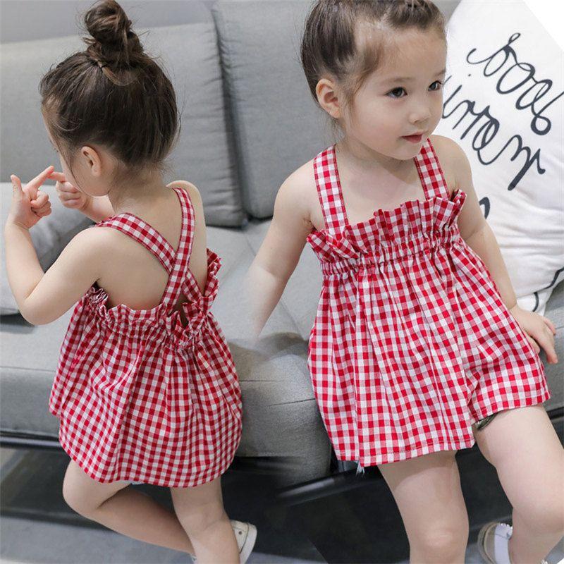 40d383b09a83 Acquista Bambini Bambina Vestita Casual Plaid Principi Vestire Nuova Neonata  Abbigliamento Infantil Bambino Vestiti Abiti Estivi Vestidos A  4.23 Dal ...