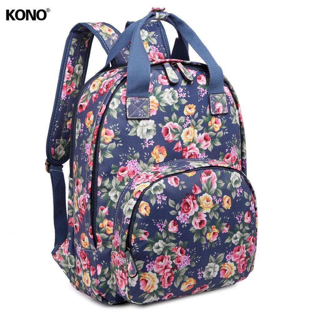 KONO Women Designer Backpacks School Bag For Teenagers Girls Vintage Flower  Mae Oilcloth Daypack Laptop Padded Rucksack LG1658 Best Backpacks Girls ... abc2780d3e