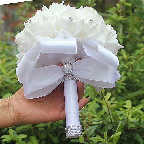 Ucuz El Yapımı Nedime Düğün Dekorasyon Köpük Çiçekler Gül Gelin Bridemaid Düğün buket Beyaz Saten Romantik Düğün buket