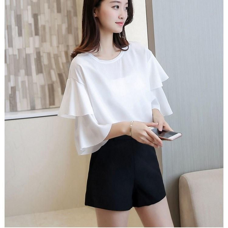 2ba99f4fef588d 2019 Hot Fashion Summer Ruffles White Blouses Casual Round Neck Chiffon  Shirts Women Flare Sleeve Loose Tops From Baxianhua, $34.59 | DHgate.Com