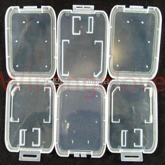utile 2 en 1 étui transparent en plastique blanc Boîte pour TF Micro carte mémoire SD mémoire Cardbox stockage adaptateur de carte TF Portable