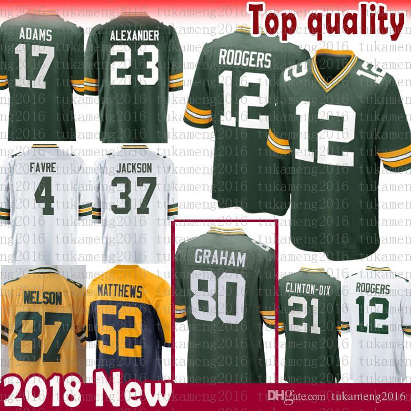 498e07685 2018 Mens Green Bays Packers Jersey 80 Jimmy Graham 12 Aaron Rodgers 23  Jaire Alexander 37 Jackson 4 Favre 17 Adams 52 Matthews Clinton Dix From ...