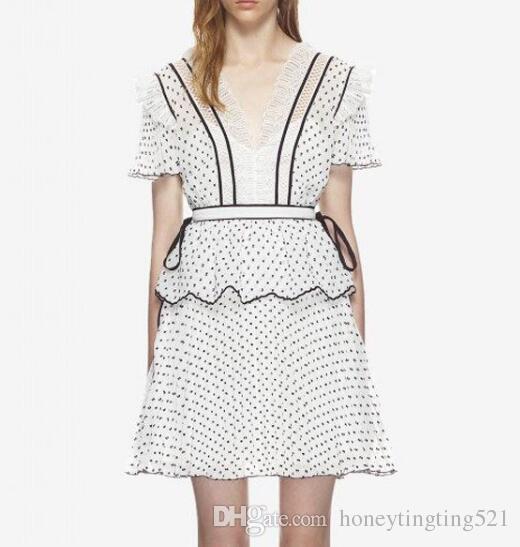 Dotted V-Neck Short Dress