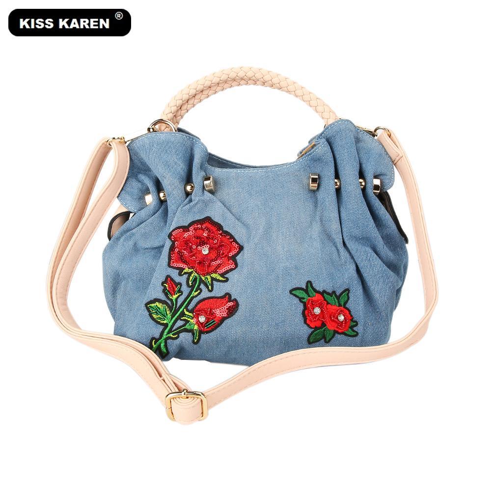 196137fdf Compre KISS KAREN Bordado Flores Mulheres Hobos Moda Vintage Denim Bag  Mulher Bolsa De Jeans Das Mulheres Sacos De Ombro Senhora Sacola De  Creeative, ...