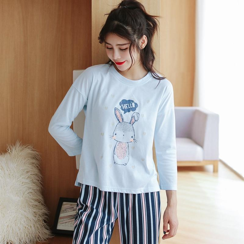 faaaef8378 2019 Cotton Striped Homewear Cute Girl Cartoon Rabbit Pajama Set For Women  2018 Autumn Winter Long Sleeve Pyjama Lounge Home Clothing From Walkerstreet