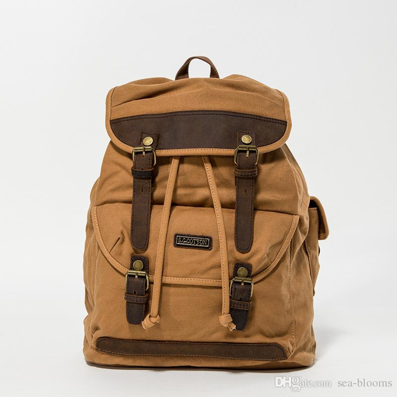 Business Daypack Canvas Laptop Backpack Unisex Vintage Leather Casual Rucksack Travel School Bags G174S
