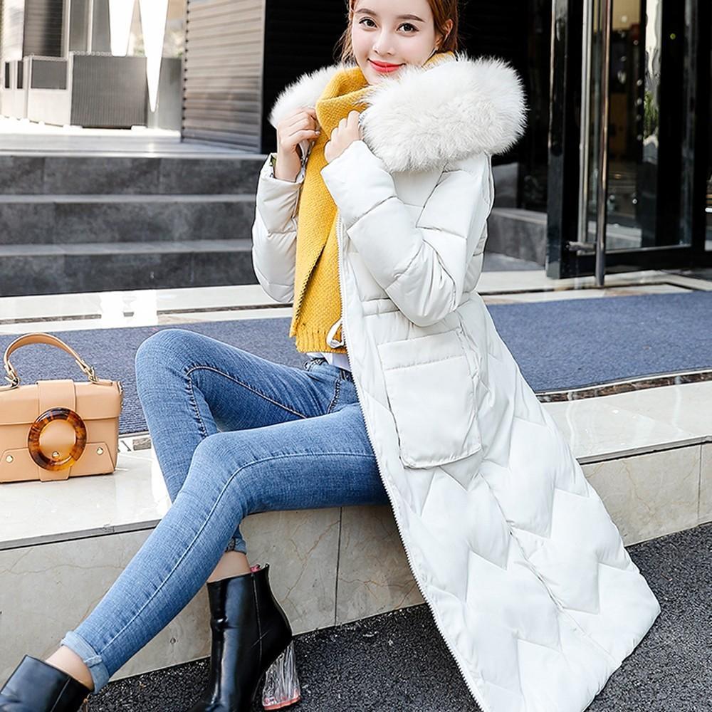 202d4b958a7 Women Winter Coat Down Jacket Ladies Fur Hooded Double Wear Jacket Long  Puffer Parka Feminina Blusas Mujer De Moda Chemise Femme Women Jackets  White Jacket ...