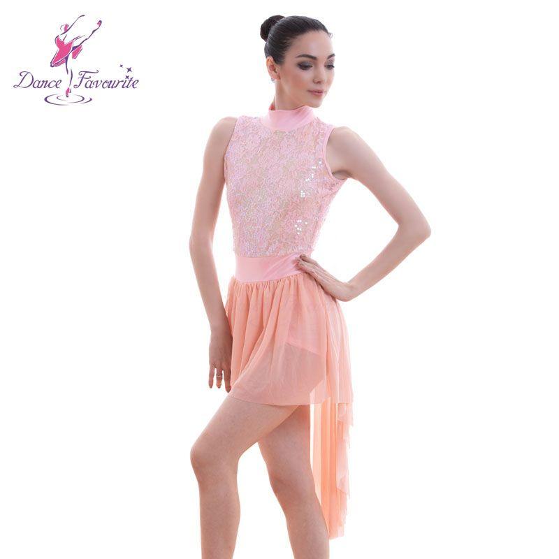 f34da71e5 2019 Stunning Pink Sequin Lace Bodice Ballet Lyrical Dance Costumes Dress  Women Stage Ballet Dress Girl Dance Costume From Salom, $63.35 | DHgate.Com
