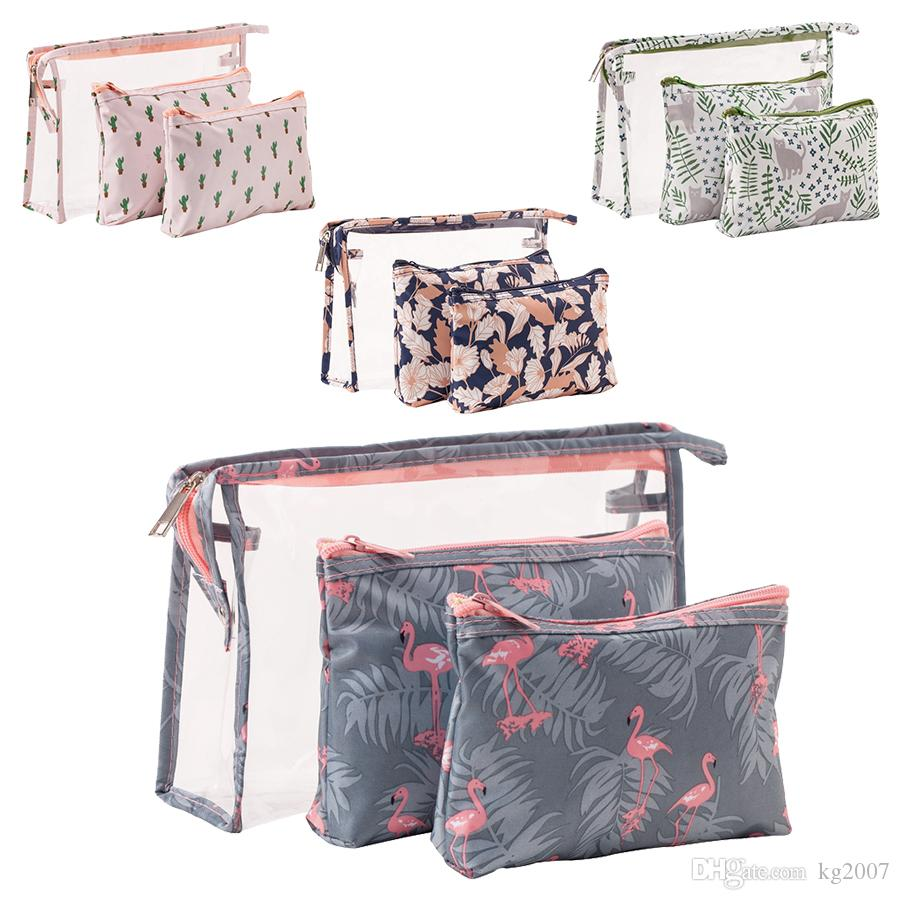 271f0a52944b 2019 Flamingo Makeup Bags Set And Organizer For Women Girls Waterproof Cosmetic  Bag Travel Make Up Pouch Toiletry Storage Bag From Kg2007