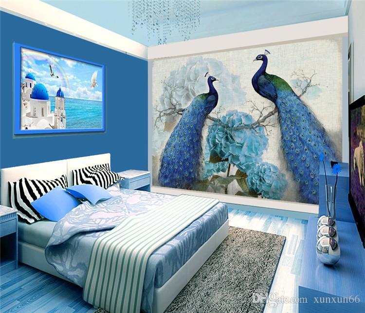 Pintura a óleo retro pavão corte rico biombo parede de fundo off moda de entrada sala de estar escritório hotel chinês