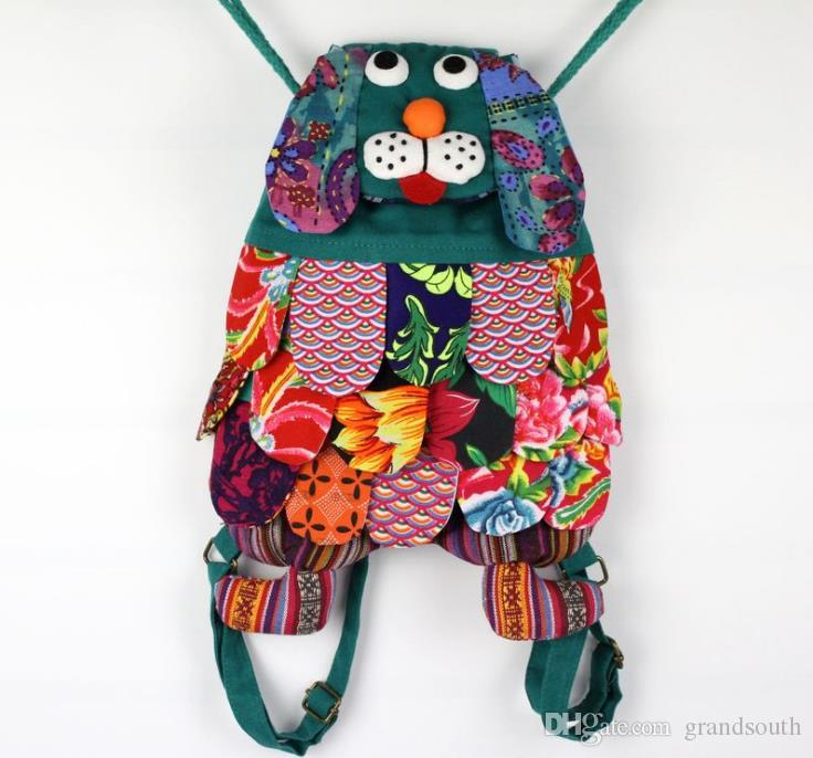 Chinese Ethnic Character Handmade Cotton Dog Backpacks Children Package Kids Girls Fashion School Dog Bags