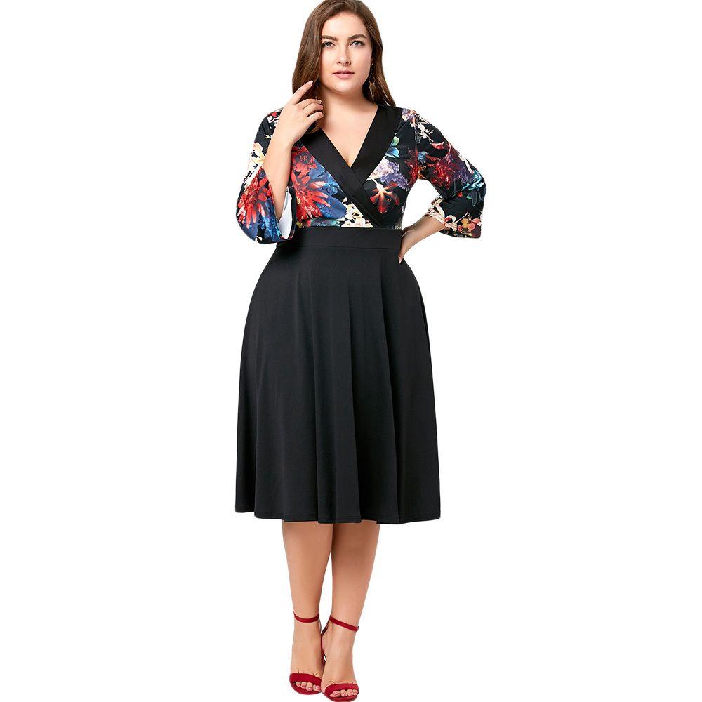 CharMma 2017 Plus Size 5XL Autumn Spring Floral Midi Surplice Dress ... e722663b6015