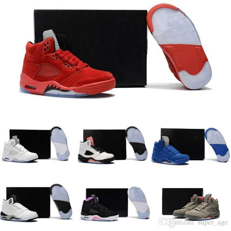 117f55b34ccb Children 5 Basketball Shoes For Boys Girls OG Black 5s Olympic Metallic  Gold White Cement Youth Sports Sneakers Kids Size EU28 35 Childrens  Designer Shoes ...