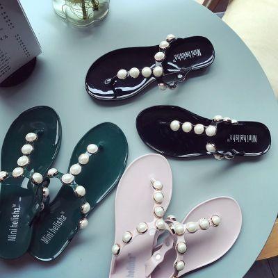 19c6f7f45aa Women Pearl Flip Flop Rhinestone Sandals Beach Slipper Strings Of Beads  Open Toe Non Slip Flat Sandals Pumps Shoes Shoe Sale From China walking