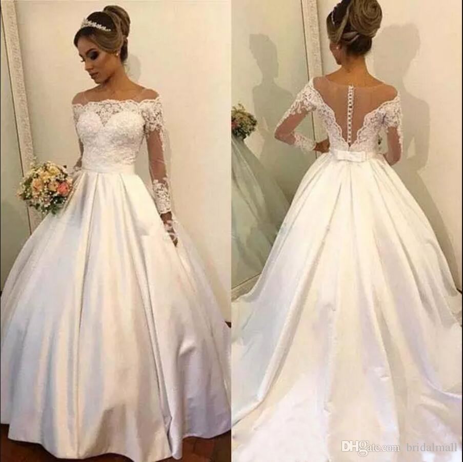 Used Plus Size Ball Gowns: Discount Sheer Neck Lace Top Wedding Dresses With Long