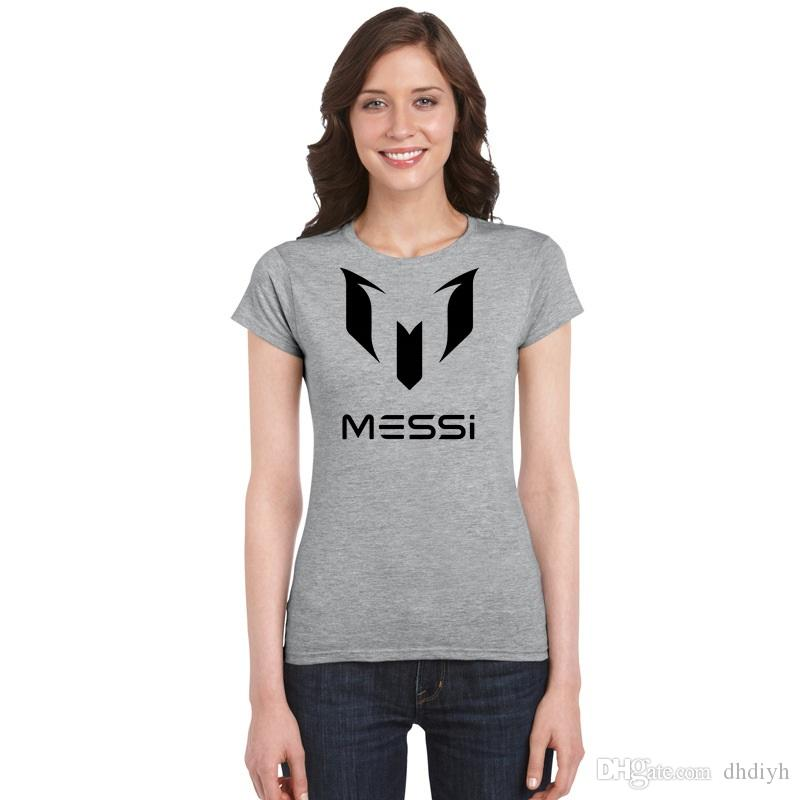 d8f295bcee2 Lionel Messi T Shirt Barcelona World Cup Women s Short Sleeve T-shirt  Summer Ladies Basic Tshirt Girl Top Tees Argentina fans Jersey