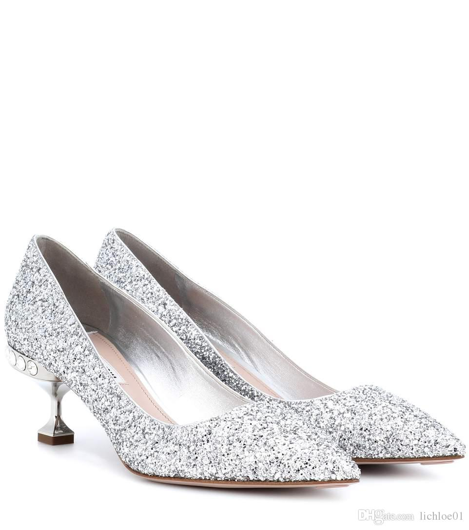 753bf8b83f4 Silver Glitter Kitten Heel Pumps Dress Shoes Casual Shoes From Lichloe01