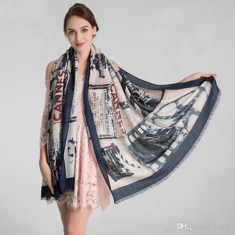 5 Design Printing Cotton Designer Scarf 180cm*90cm Women Hijab Shawls Pashmina Head Wrap Scarves Table Blanket Beach Towel