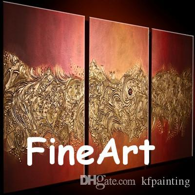 hand-painted oil modern 3 piece paintings orange canvas painting bright color texture painting artwork nature abstract painting unique gifts
