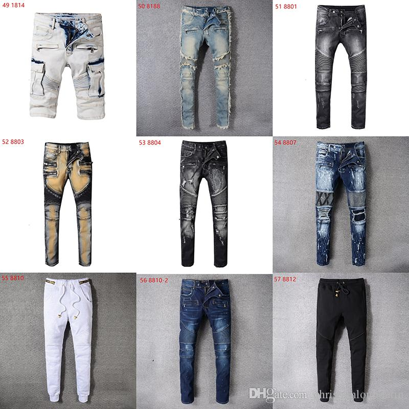 HOT Sale New 2019 Spring And Autumn New Men's balmain Jeans Nine Trousers Street Style Teen Trendy Casual Underwear Boys Fashion Slim pants