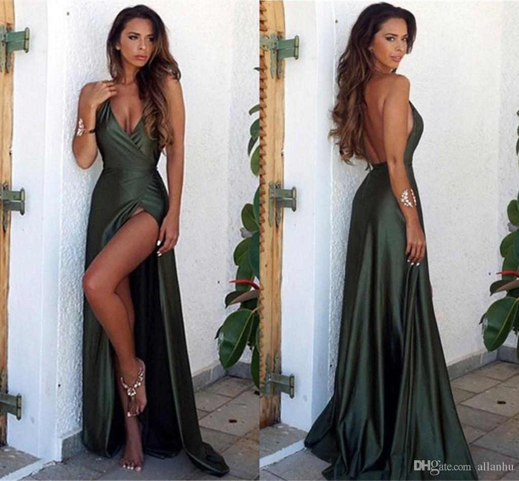 Dark Green Mermaid Prom Dresses Long 2018 Sexy Deep V Neck High Side Split Floor Length Formal Dresses Dresses Evening Wear Simple BA6335