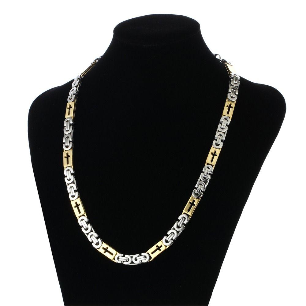 Aço Inoxidável de Ouro Cadeia Bizantina para Homens Oco Cruz Colar De Metal Dos Homens Acessório Presente Hip Hop Jóias Chaine Collier