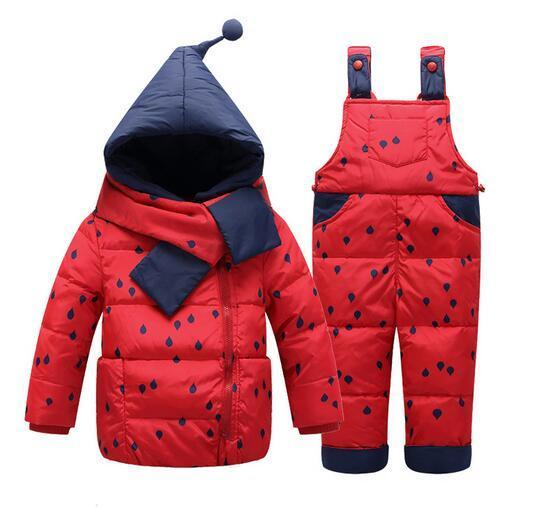 2017 Zima Odzież dziecięca Zestaw Kids Ski Garnitury Kombinezony Baby Girls Down Płaszcz Ciepłe Snowsubtes Kurtki + Spodnie 2 sztuk / Zestaw Marka